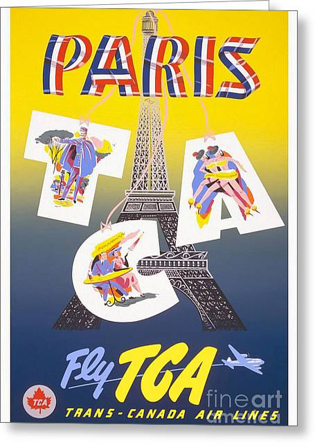 Culture Drawings Greeting Cards - Paris Vintage Travel Poster Greeting Card by Jon Neidert