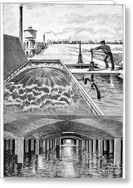 Public Water Supply Greeting Cards - Paris Water Supplies, 19th Century Greeting Card by Spl