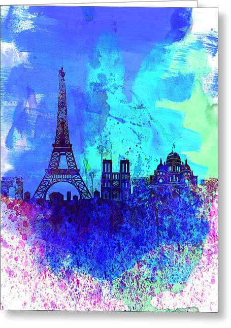 Architectural Landscape Greeting Cards - Paris Watercolor Skyline Greeting Card by Naxart Studio