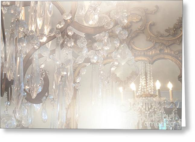 Ghostly Greeting Cards - Paris Dreamy White Gold Ghostly Crystal Chandelier Mirrored Reflection - Paris Crystal Chandeliers Greeting Card by Kathy Fornal