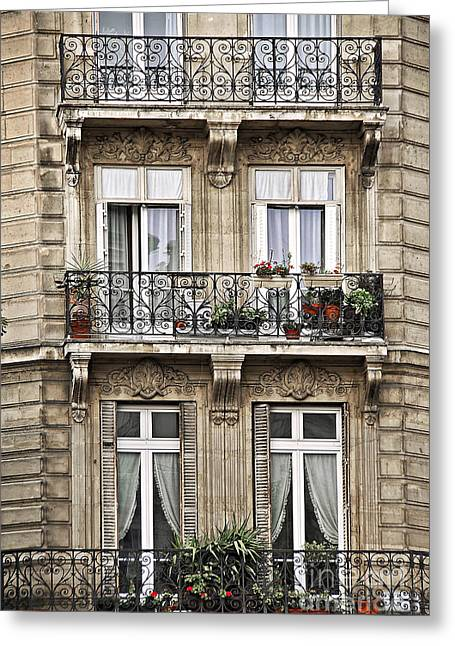 Iron Greeting Cards - Paris windows Greeting Card by Elena Elisseeva