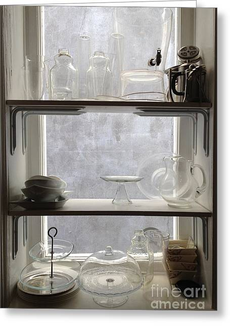 Paris Windows Kitchen Architecture - Paris Vintage Kitchen Window Ethereal Frosted Glass And Dishes Greeting Card by Kathy Fornal