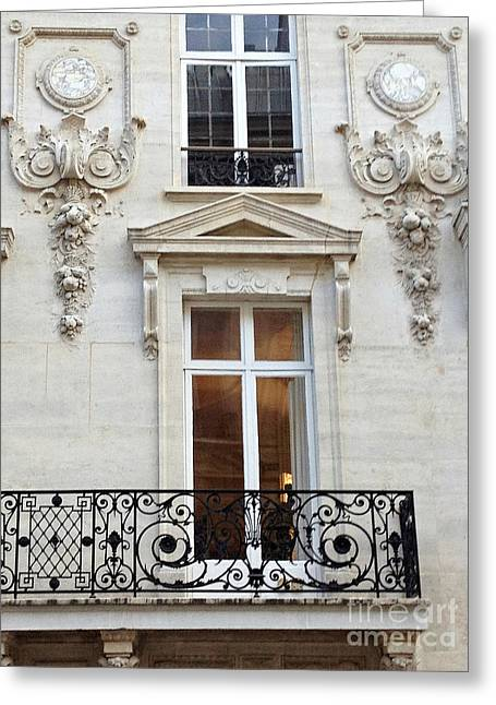 Winter Photos Greeting Cards - Paris Windows Lace Balconies Art Nouveau - Romantic Paris Window Balcony Architecture Art Deco Greeting Card by Kathy Fornal
