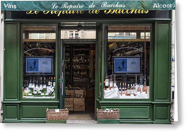 Photography Of Liquor Greeting Cards - Paris Wine Store Greeting Card by Nomad Art And  Design