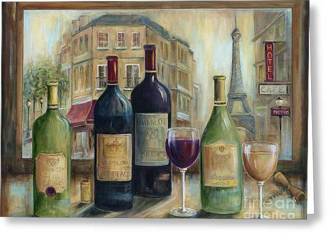 Red Wine Bottle Greeting Cards - Paris Wine Tasting With A View Greeting Card by Marilyn Dunlap