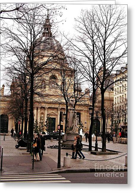 Winter Photos Photographs Greeting Cards - Paris Winter City Streets Architecture Buildings People Winter Street Scene Photos Greeting Card by Kathy Fornal