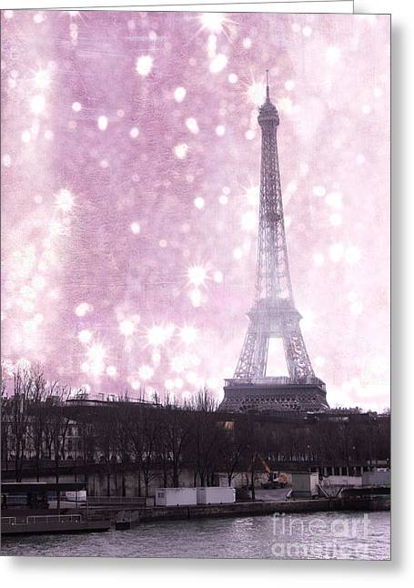 Framed Winter Snow Print Greeting Cards - Paris Winter Eiffel Tower - Dreamy Surreal Paris In Pink Eiffel Tower Snow Winter Landscape Greeting Card by Kathy Fornal