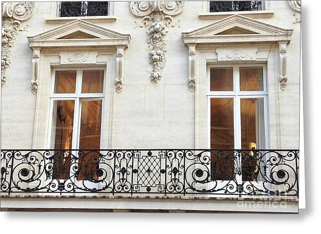 Winter Photos Greeting Cards - Paris Winter White Windows Lace Balconies - Paris Window Balcony Architecture Art Nouveau Art Deco  Greeting Card by Kathy Fornal