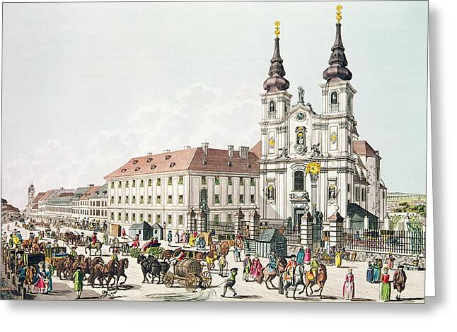 Monastery Greeting Cards - Parish Church And Convent Of Mariahilf, Vienna, 1783 Engraving Greeting Card by Johann Ziegler