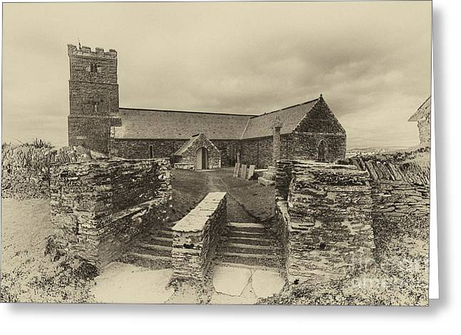 Tintagel Greeting Cards - Parish Church of Saint Materiana at Tintagel Greeting Card by Chris Thaxter