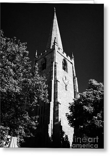 Nottingham Greeting Cards - Parish Church Of St Peter And All Saints With Trees And Blue Sky Nottingham City Centre Nottingham E Greeting Card by Joe Fox