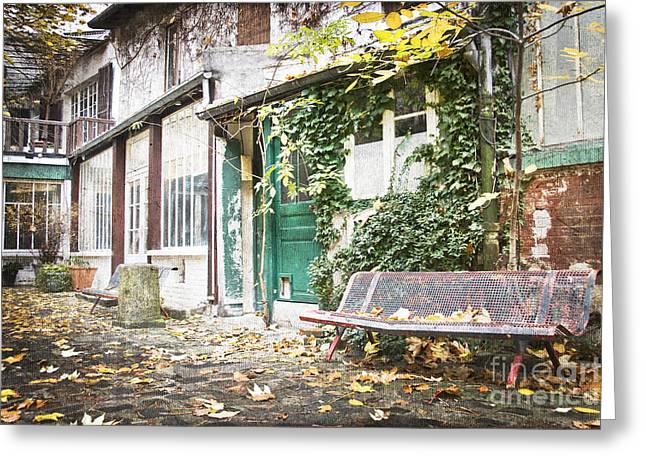 Paved Street Greeting Cards - Parisian alley Greeting Card by Delphimages Photo Creations