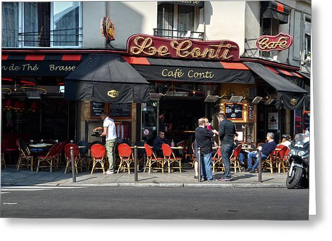 Parisian Cafe Le Conti Greeting Card by RicardMN Photography