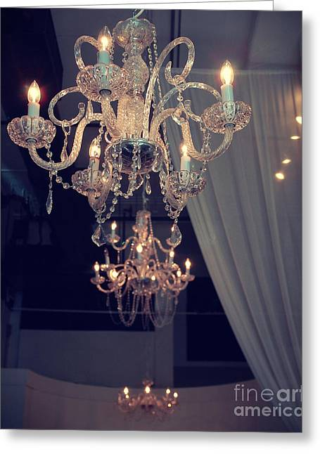 Opulent Greeting Cards - Parisian Crystal Chandelier - Window Chandelier Opulence Elegant Crystal French Parisian Chandelier Greeting Card by Kathy Fornal