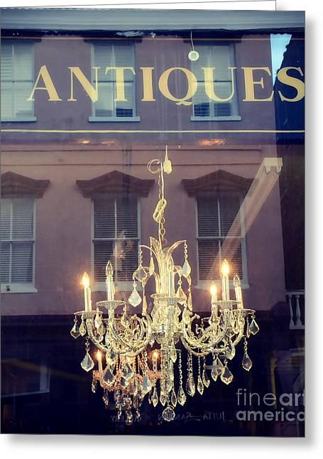 Opulent Greeting Cards - Parisian Crystal Chandelier Window Reflection - Sparkling Opulent Crystal Chandelier  Greeting Card by Kathy Fornal