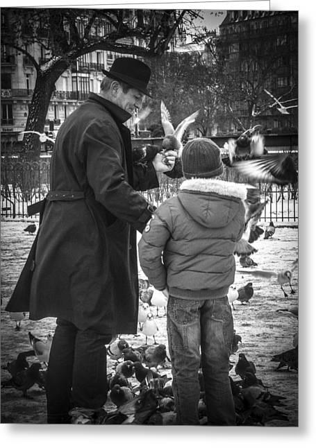 Justin Woodhouse Greeting Cards - Parisian Father and Son Greeting Card by Justin Woodhouse