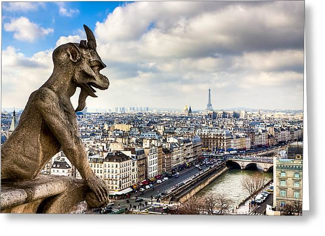 Parisian Gargoyle Admires the Skyline Greeting Card by Mark Tisdale