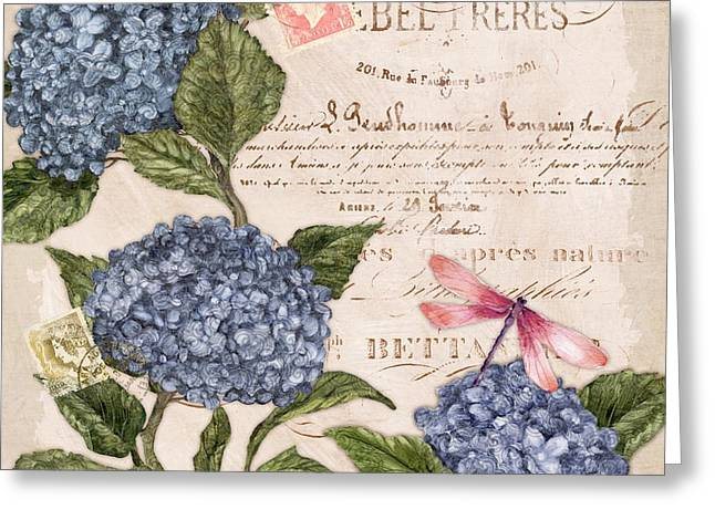 Chic Greeting Cards - Parisian Hydrangea I Greeting Card by Paul Brent