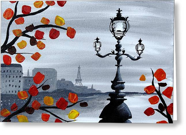 Riviere Paintings Greeting Cards - Parisian Lamp Post Greeting Card by Kayla Mallen