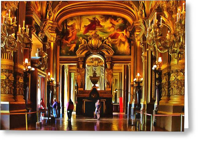 Classical Gold Mixed Media Greeting Cards - Parisian Opera House Greeting Card by Georgiana Romanovna