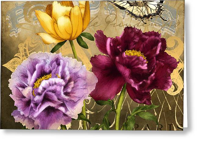 Filigree Greeting Cards - Parisian Peonies Greeting Card by April Moen