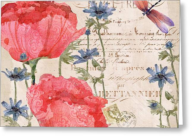Simple Paintings Greeting Cards - Parisian Peonies I Greeting Card by Paul Brent