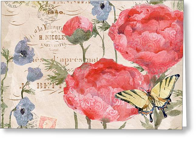 Chic Greeting Cards - Parisian Peony II Greeting Card by Paul Brent
