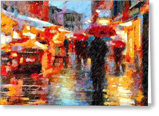 Night Scene Prints Greeting Cards - Parisian Rain Walk Abstract Realism Greeting Card by Georgiana Romanovna