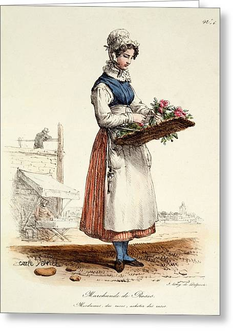 Parisian Greeting Cards - Parisian Rose Seller, Print Made Greeting Card by Carle Vernet