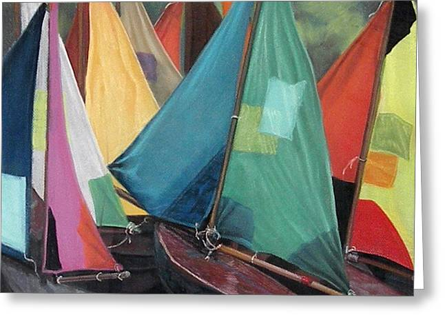 Parisian Sailboats Greeting Card by Kathleen English-Barrett
