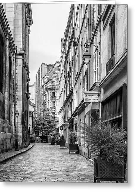 Buildings And Narrow Lanes Greeting Cards - Parisian Street Greeting Card by Nomad Art And  Design