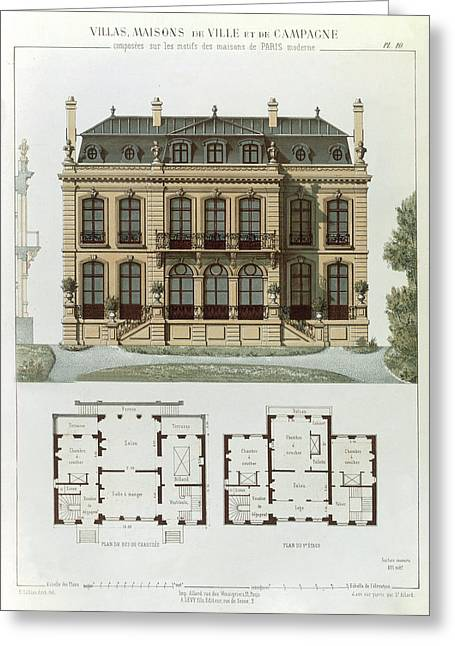 Architectural Design Greeting Cards - Parisian Suburban House And Plans Greeting Card by Leon Isabey