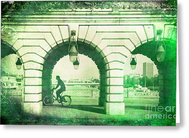 Michelle Greeting Cards - Parisien Cyclist Greeting Card by Michelle Orai