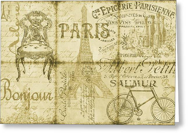 Parisienne Greeting Cards - Parisienne-Sepia Greeting Card by Jean Plout