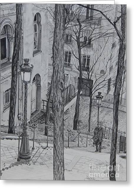 Graphite Greeting Cards - Parisienne Walkways Greeting Card by Jackie Mestrom