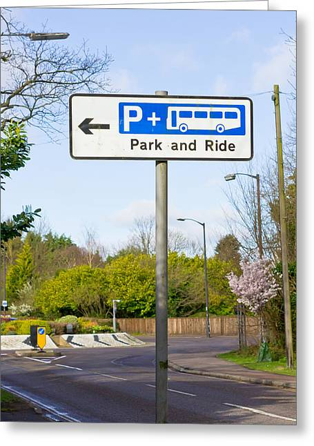 Bus Signs Greeting Cards - Park and ride Greeting Card by Tom Gowanlock