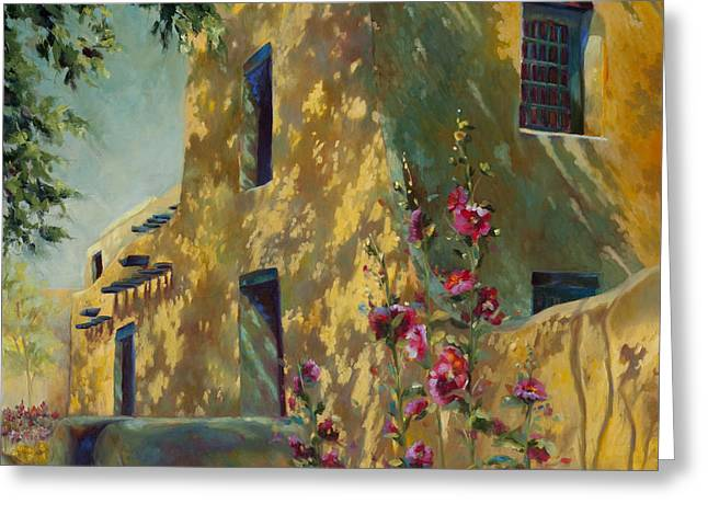 Sunlit Door Greeting Cards - Park Avenue Pueblo Greeting Card by Chris Brandley
