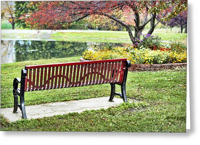 Refelctions Greeting Cards - Park Bench by the Pond Greeting Card by Cricket Hackmann