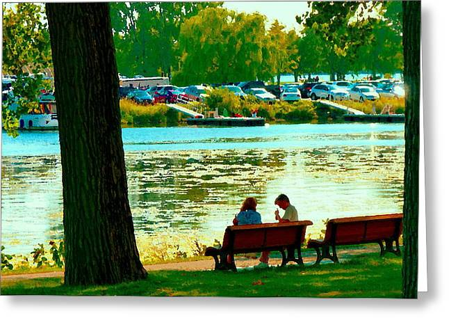 Sunday Picnic Greeting Cards - Park Bench Conversation Shoreline Lachine Canal Quebec Art Montreal Scenes Carole Spandau Greeting Card by Carole Spandau