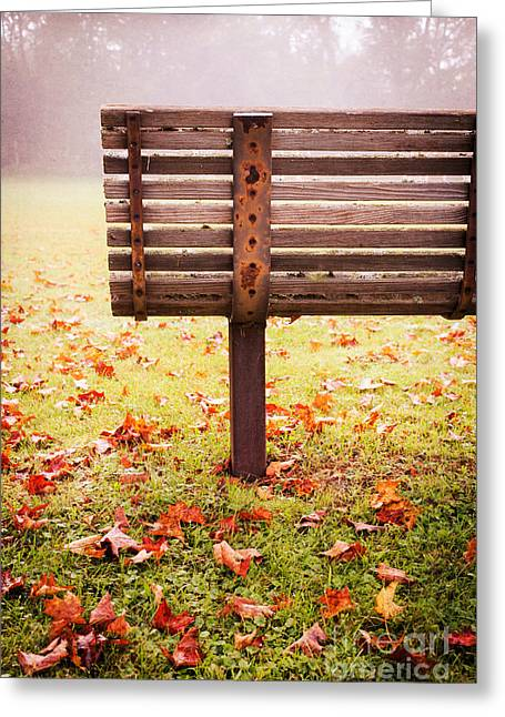 Park Benches Greeting Cards - Park Bench in Autumn Greeting Card by Edward Fielding