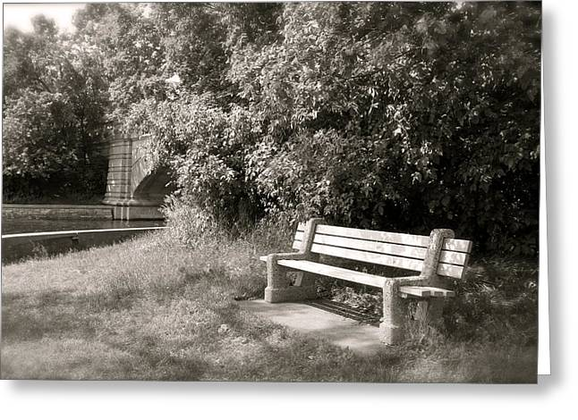 Quiet Places Greeting Cards - Park Bench in Sepia Greeting Card by Heidi Hermes