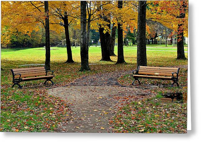 Park Benches Greeting Cards - Park Bench Greeting Card by Frozen in Time Fine Art Photography
