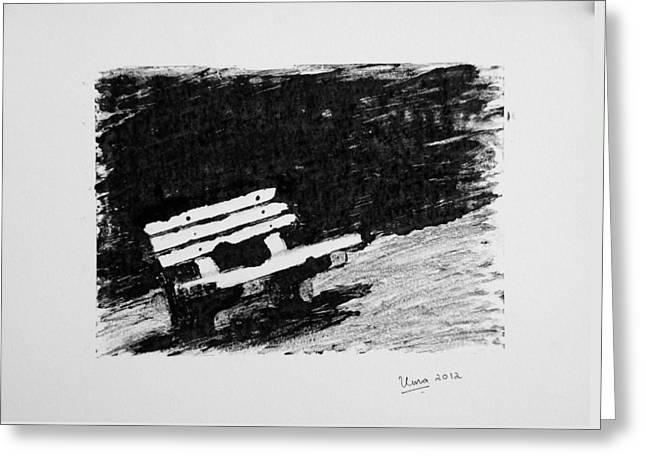 Park Benches Drawings Greeting Cards - Park bench Greeting Card by Uma Krishnamoorthy