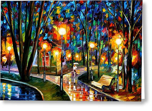 Park By The Lake - Palette Knife Oil Painting On Canvas By Leonid Afremov Greeting Card by Leonid Afremov