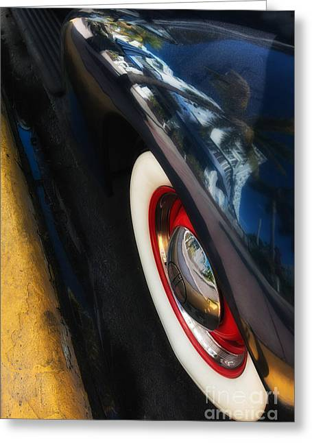 Kerb Greeting Cards - Park Central Hotel Reflection on Oldsmobile Wing - South Beach - Miami  Greeting Card by Ian Monk