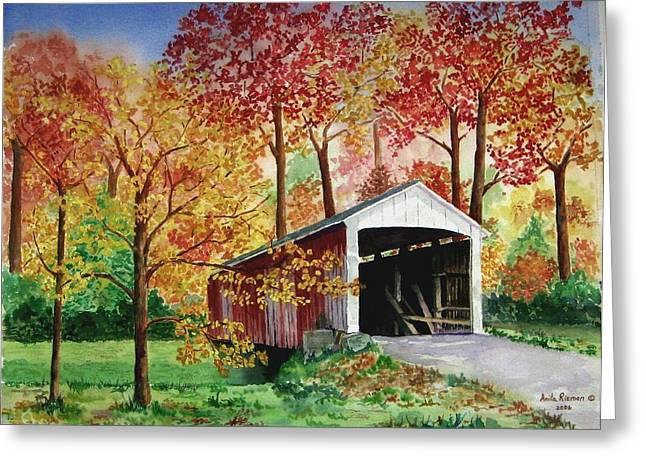 Park County Covered Bridge Greeting Card by Anita Riemen