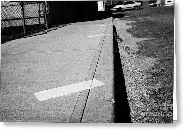 Kerb Greeting Cards - park diagonally markers on the sidewalk of main street hafford Saskatchewan Canada Greeting Card by Joe Fox