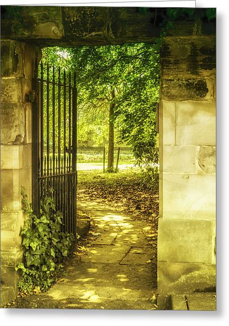 Dappled Sunlight Greeting Cards - Park Entrance Greeting Card by Nomad Art And  Design