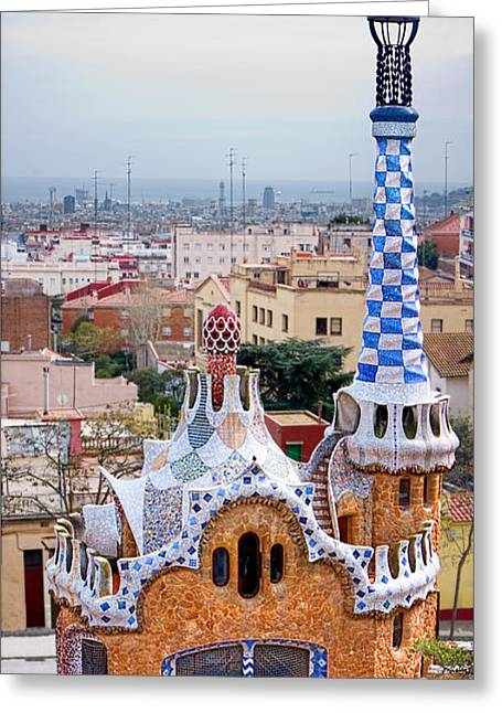 Ultra Modern Greeting Cards - Park Guell Candy House - Gaudi Greeting Card by Weston Westmoreland