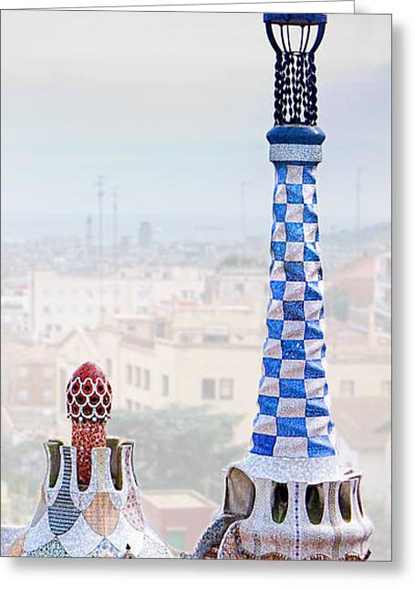 Ultra Modern Greeting Cards - Park Guell candy House Tower - Gaudi Greeting Card by Weston Westmoreland